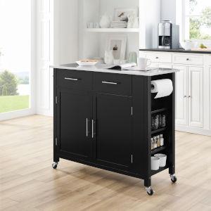 Savannah Black 42-Inch Stainless Steel Top Kitchen Cart