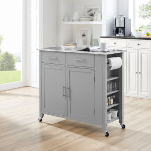 Savannah Gray 42-Inch Stainless Steel Top Kitchen Cart