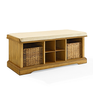 Brennan Natural Fiber Board and Birch Veneer Entryway Storage Bench