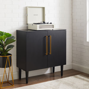 Everett Matte Black Console Cabinet