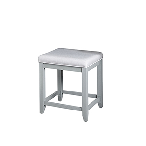 Vista Grey Solid Hardwood and Veneer Vanity Stool