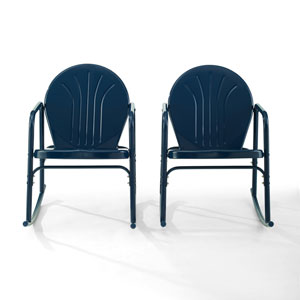 Griffith Navy Gloss Outdoor Rocking Chairs, Set of Two