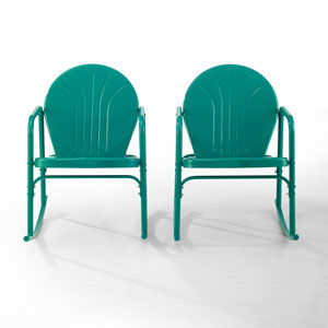 Griffith Turquoise Gloss Outdoor Rocking Chairs, Set of Two