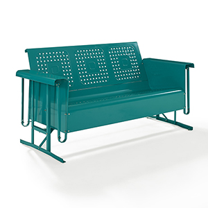 Bates Turquoise Steel Sofa Glider