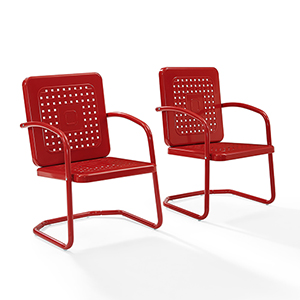 Bates Red Metal Outdoor Chair, Set of Two