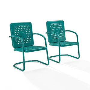Bates Turquoise Metal Outdoor Chair, Set of Two