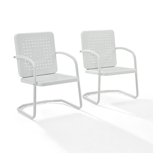 Bates White Metal Outdoor Chair, Set of Two