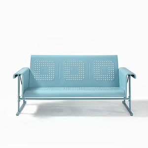 Veranda Blue Powder Coated Steel Sofa Glider