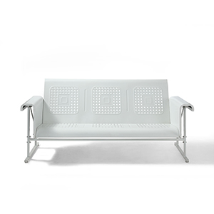 Veranda White Powder Coated Steel Sofa Glider