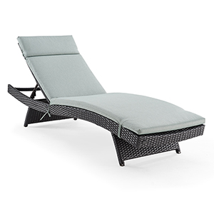 Biscayne Brown and Mist Wicker and Steel Outdoor Chaise Lounge