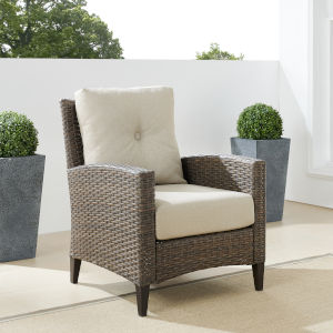 Rockport Brown Outdoor Wicker High Back Arm Chair