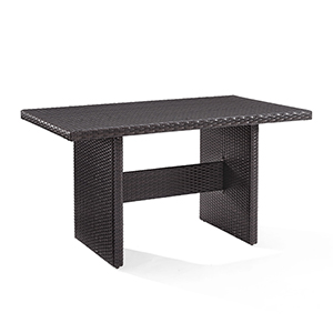 Palm Harbor Brown Steel and Resin Wicker Outdoor Cocktail Table