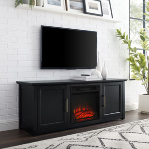 Camden Black 58-Inch Low Profile TV Stand with Fireplace