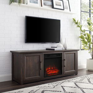 Camden Dark Walnut 58-Inch Low Profile TV Stand with Fireplace