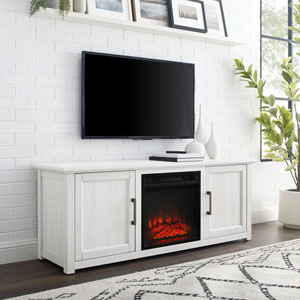 Camden Whitewash 58-Inch Low Profile TV Stand with Fireplace