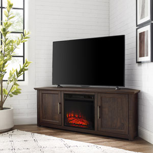 Camden Dark Walnut 58-Inch Corner TV Stand with fireplace