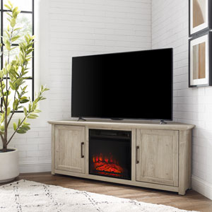 Camden Frosted Oak 58-Inch Corner TV Stand with fireplace
