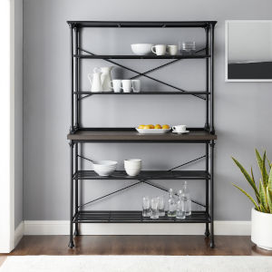 Madeleine Brown and Matte Black Bakers Rack