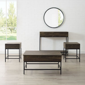 Jacobsen Brown Ash and Matte Black Four-Piece Coffee Table Set