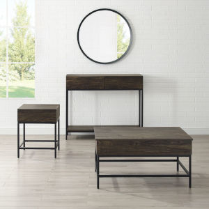 Jacobsen Brown Ash and Matte Black Three-Piece Coffee Console and End Table Set
