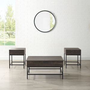 Jacobsen Brown Ash and Matte Black Three-Piece Coffee Table Set
