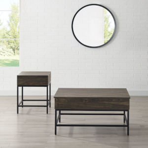 Jacobsen Brown Ash and Matte Black Two-Piece Coffee Table Set