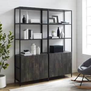 Jacobsen Brown Ash Matte Black Two-Piece Etagere Set