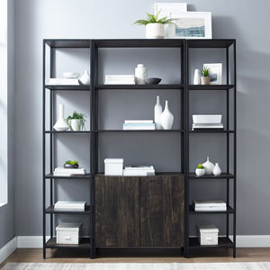 Jacobsen Brown Ash Matte Black Three-Piece Etagere Set