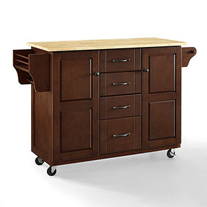 Eleanor Mahogany Natural Wood Top MDF and Birch Veneer Kitchen Cart