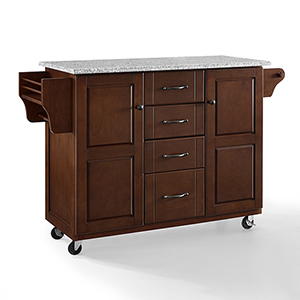 Eleanor Mahogany Solid Granite Top MDF and Birch Veneer Kitchen Cart