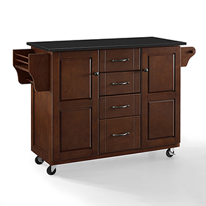 Eleanor Mahogany Black Granite Top MDF and Birch Veneer Kitchen Cart