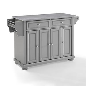 Alexandria Grey and Stainless Steel Solid Hardwood and Veneer Kitchen Island