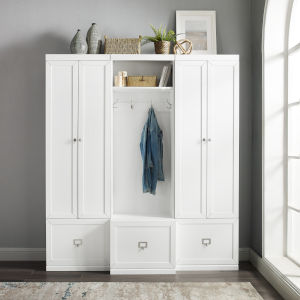Harper White Hall Tree and 2 Pantry Closet Set, 3-Piece