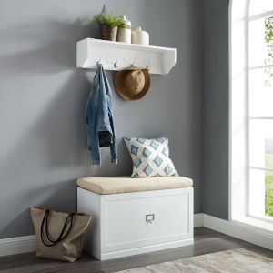 Harper White Bench and Shelf Set, 2-Piece