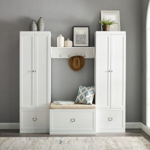 Harper 4-Piece Entryway Set includes White Bench, Shelf and 2 Closet Set