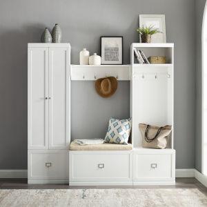 Harper 4-Piece Entryway Set includes White Bench, Shelf, Closet and Locker