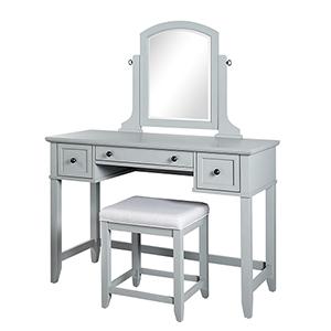 Vista Grey Solid Hardwood and Veneer Vanity Table with Mirror