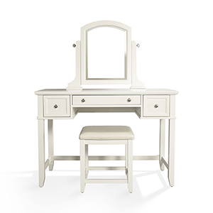 Vista White Solid Hardwood and Veneer Vanity Table with Mirror