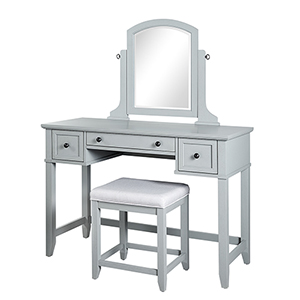 Vista Grey Solid Hardwood and Veneer Vanity Table with Mirror and Stool