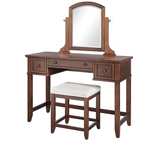 Vista Mahogany Solid Hardwood and Veneer Vanity Table with Mirror and Stool