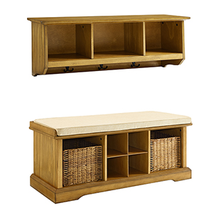 Brennan Natural Fiber Board and Birch Veneer Two Piece Entryway Bench and Shelf