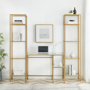 Aimee Soft Gold Desk and Etagere Set, 3-Piece