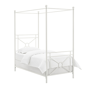 Montgomery White Steel Twin Canopy Bed