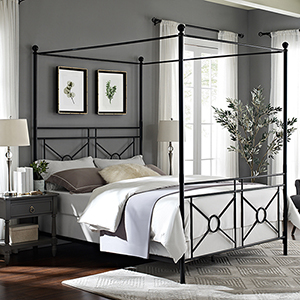Montgomery Black Steel Queen Canopy Bed