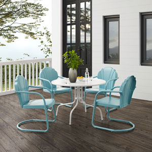 Tulip Pastel Blue Satin and White Satin Outdoor Dining Set, Five-Piece