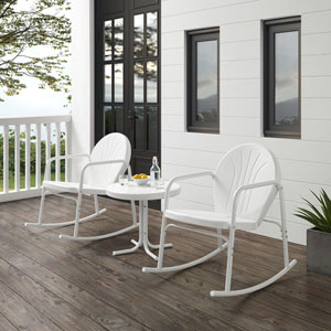 Griffith White Gloss and White Satin Outdoor Rocking Chair Set, Three-Piece