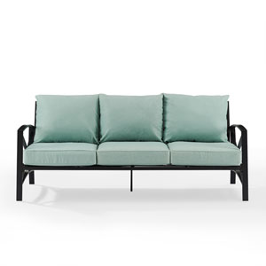 Kaplan Oil Rubbed Bronze and Mist Outdoor Metal Sofa