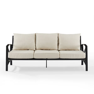 Kaplan Oil Rubbed Bronze and Oatmeal Outdoor Metal Sofa