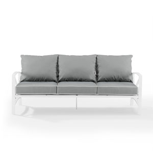 Kaplan White and Gray Outdoor Metal Sofa