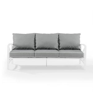 Kaplan White and Gray Outdoor Metal Sofa